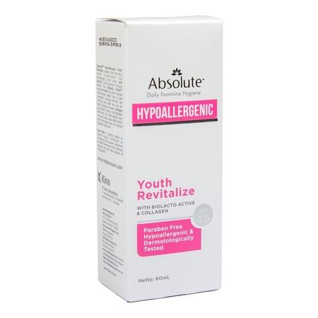 Absolute Hypoallergenic Youth Revitalize Merupakan Pembersih Kewanitaan Yang Dibuat Secara Higienis Dan Tidak Mengandung Zat-Zat Yang Dapat Menyebabkan Reaksi/Alergi Pada Kulit. Secara Alami, Pembersih Ini Berfungsi Untuk Merevitalisasi Sel-Sel Kulit Yang