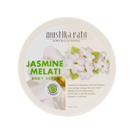 Mustika Ratu Scrub Jasmine memiliki Aroma dari bunga Jasmine memberikan efek menenangkan. Scrub berfungsi mengangkat sel kulit mati dan melembapakan kulit.