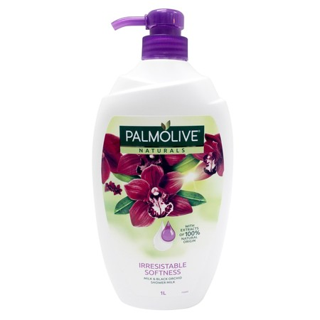 Extracts of black orchid and aloe vera Description Palmolive Naturals Irresistible Softness Shower Milk is enriched with moisturising milk and extracts of 100% natural origin of Orchid and Aloe Vera. Its rich, velvety formula wraps you in the sensual scen