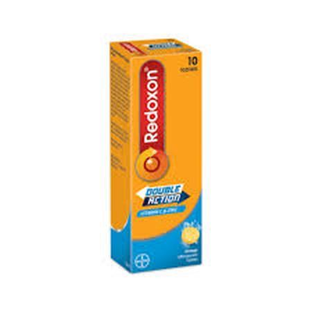 Redoxon Double Action. Tidak hanya mengandung vitamin C saja, juga mengandung mineral zinc untuk memelihara daya tahan tubuh. Digunakan untuk membantu memenuhi kebutuhan vitamin C dan zinc, misalnya pada saat flu. Juga pada keadaan: demam, skorbut, gusi b