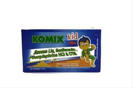 Komix Kid OBH (Rasa Madu) merupakan sirup batuk Anak yang dikemas dalam sachet berukuran 5 ml. Komix Kid OBH (Rasa Madu) mengandung Succus Liquiritiae, Guaifenesin, Phenylephrine HCL, Chlorpheniramine Maleate yang berkhasiat membantu meredakan batuk berda