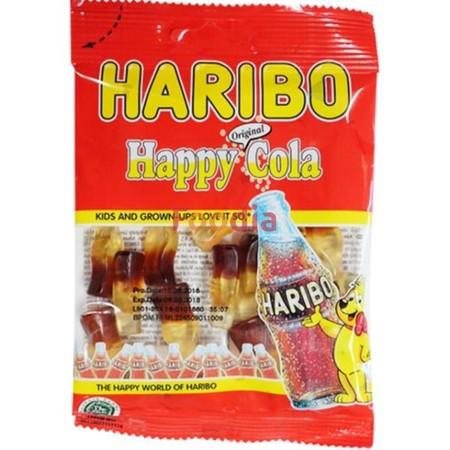 Haribo Happy Cola 160Gr Haribo Happy Cola 160GrMerupakan Permen Jelly Dengan Rasa Cola Yang Dibuat Dengan Bahan-Bahan Yang Berkualitas Sehingga Menghasilkan Tekstur Yang Kenyal, Diproses Secara Higienis. Cocok Dinikmati Saat Bersantai Bersama Keluarga,