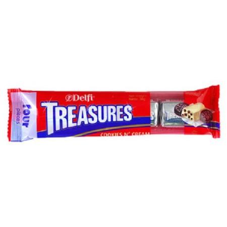 Delfi Treasures Cookies and Cream 36gr terbuat dari coklat pilihan yang di dalamnya terdapat cookies dan cream yang lezat.