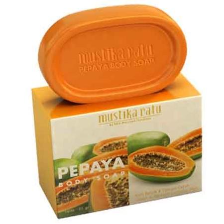 Mustika Ratu Body Soap merupakan sabun batang diperkaya ekstrak pepaya yang kaya akan vitamin.