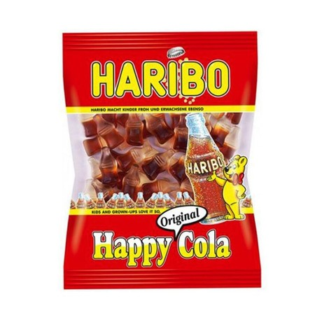 Haribo Happy Cola Is Gummi Bottles That Look Like Real Pop Bottles And Have An Bubbly Cola Flavor.