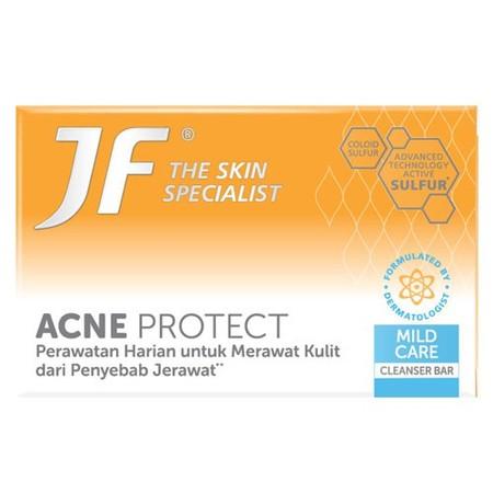 JF Cleanser Bar merupakan sabun yang diformulasi dari bahan aktif alami Sulfur. Teruji klinis untuk merawat kulit berjerawat, efektif melawan bakteri atau kuman penyebab jerawat, mengurangi minyak berlebih dengan formula khusus membersihkan kulit dari deb
