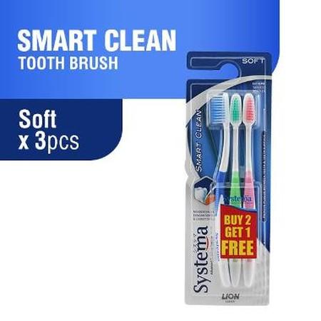 Systema smart clean merupakan sikat gigi dengan teknologi bulu sikat oleh Systema Advanced Oral Care System,teruji efektif membersihkan gigi serta celah sempit antara gigi dan gusi.