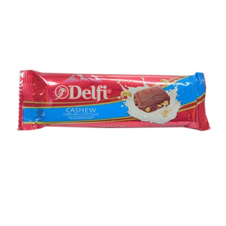 Delfi Cashew 65Gr Delfi Cashew 65GrAdalah Makanan Ringan Yang Berupa Coklat Yang Terbuat Dari Coklat Dengan Isi Kacang Mete Lalu Dipadukan Dengan Rasa Susu Yang Lezat. Dibuat Dengan Menggunakan Coklat Pilihan Dengan Kualitas Baik. Berisi Kacang Mete Pi