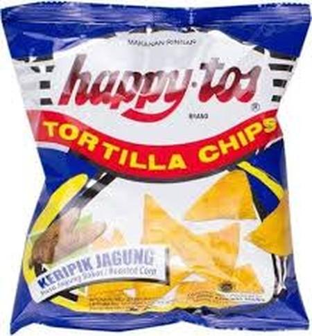 Kripik happytos brand adalah hidangan sederhana nan lezat dibuat dengan biji jagung pilihan yang diolah dengan teliti dan digoreng dengan minyak kelapa sawit bermutu.