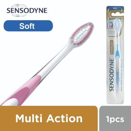 Sensodyne Tooth Brush Multiaction Soft adalah produk sikat gigi yang dihadirkan untuk memberi perlindungan dari rasa ngilu pada gigi sensitif Anda ketika menggosok gigi Bulu sikatnya yang halus memudahkan kamu untuk menggosok gigi tanpa melukai gigi maupu