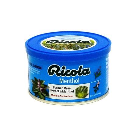 RICOLA MENTHOL TIN 100 GR permen yang menyegarkan dan dapat melegakan tenggorokan