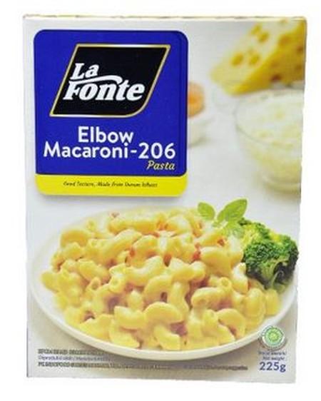 LA FONTE Elbow Macaroni [225 g] adalah jenis pasta yang diolah dari gandum durum pilihan dengan kandungan protein and serat tinggi serta rendah lemak, La Fonte adalah pilihan bahan pasta utama yang tidak mudah hancur saat dimasak maupun dipanaskan. Diolah