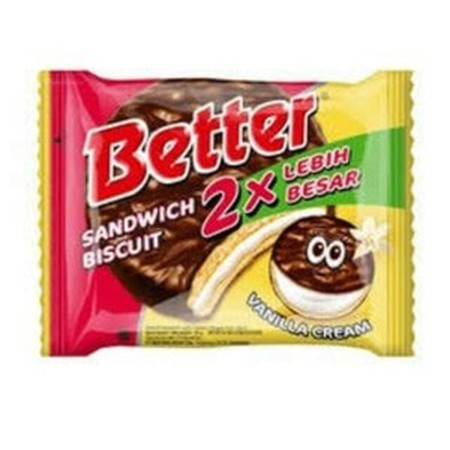 Better, sandwich biscuit covered with delicious thick chocolate and creamy vanilla filling.