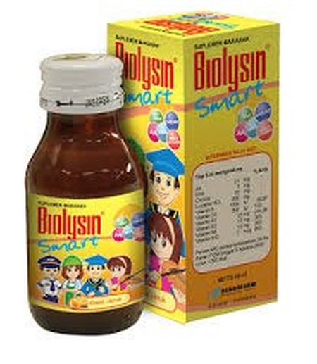 Biolysin Smart Syrup Suplemen [100 mL], suplemen makanan anak untuk memelihara kesehatan tubuh anak-anak, membantu pemulihan kondisi tubuh anak dan nutrisi otak.