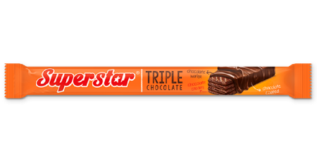 Tripple chocolate. Chocolate wafer with chocolate cream inside then covered with chocolate coated