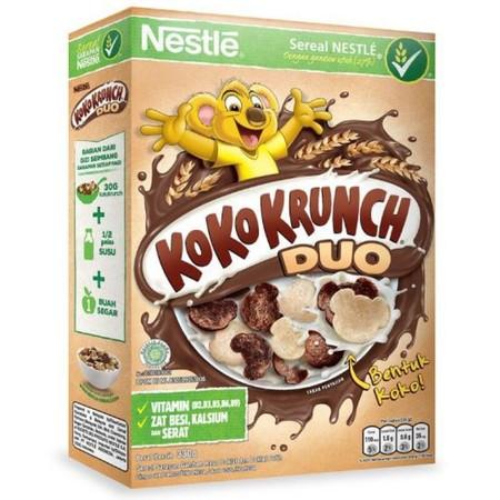 Nestle Koko Krunch Duo Sereal [330 G] Merupakan Sereal Sarapan Dari Nestle Yang Terbuat Dari Gandum Utuh Yang Memiliki Duo Rasa, Yaitu Sereal Coklat Dan Sereal Coklat Putih Dalam Satu Kemasan Ini Memiliki Manfaat Dari Tiga Bagian Yang Ada Dalam Gandum Utu