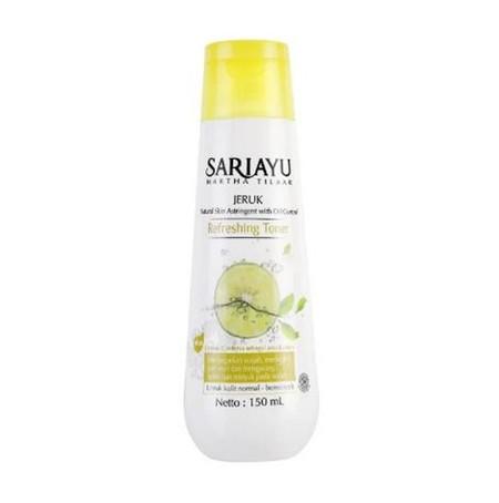 Sariayu jeruk refreshing toner mengandung lime ekstrak dan peppemint oil serta ekstrak gardenia sebagai antioksidan. Menyegarkan wajah meningkas pori-pori dan mengurangi kelebihan minyak pada wajah