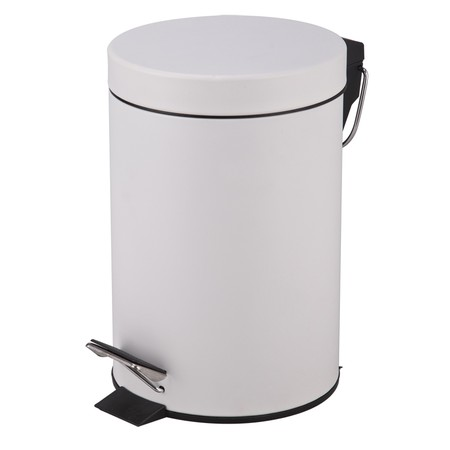 Stainless steel dustbin with elegant design. Size: 12Liter. Material: stainless steel + powder coating. Color: White Suitable to complete the design of a modern room.