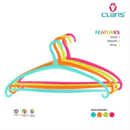 Claris Terry Hanger. With a minimalist and elegant design, perfect for beautifying your hanger collection. This attractive and beautiful color with an elegant design. Light, simple and made from quality plastic.