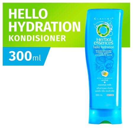 Herbal Essences Hello Hydration. Its like a moisturizing spa treatment for your hair. Our hydrating moisture rich conditioner will leave your hair feeling pampered. And while you shower, its oh-so-yummy coconut scent will transport you straight to the t