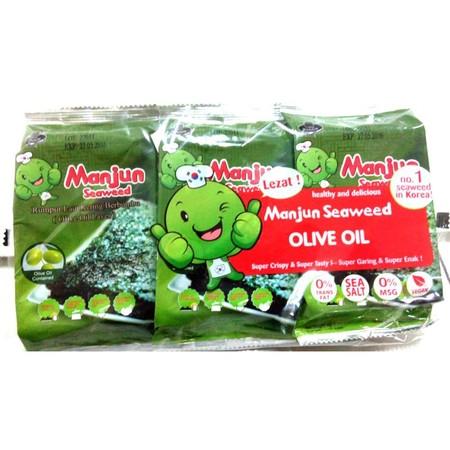 Manjun Seaweed Olive Oil 3X5Gr Manjun Seaweed Olive Oil 3X5G Merupakan Camilan Rumput Laut Kering Yang Dikemas Dalam Rasa Asin Nan Lezat Yang Menggoda. Dibuat Dengan Kandungan Minyak Zaitun Premium, Menjadikan Camilan Ini Terasa Renyah Dan Gurih Saat M