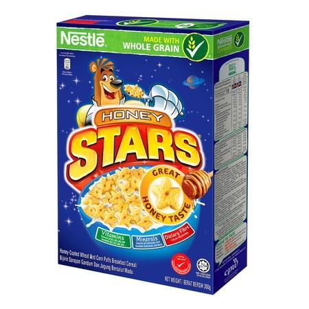 Nestle Honey Stars Cereal 300 Gr, Cereal Terbuat Dari Jagung Dan Gandum Utuh Bergizi Yang Dilapisi Madu. Kini Selain Bentuk Bintang, Juga Tersedia Dengan Bentuk Bulan.