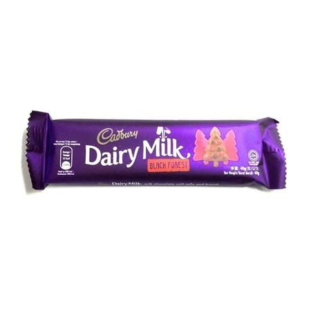 Cadbury Dairy Milk Black Forest 65Gr Cadbury Dairy Milk Black Forest 65GrMerupakan Produk Camilan Yang Berisi Coklat Premium Lezat Dengan Rasa Black Forest Yang Dapat Dinikmati Semua Orang. Rasa Coklat Dan Susunya, Memberikan Kenikmatan Di Setiap Gigit