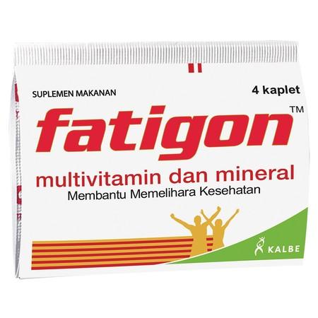 Fatigon Kaplet Multivitamin[4 Strip/ 4 Tablet-Strip] adalah suplemen multivitamin dan/atau mineral yang digunakan untuk mengurangi rasa lelah, meningkatkan stamina, serta menjaga konsentrasi dan kesehatan.Fatigon mengandung Vitamin B1, Vitamin B6, Vitami