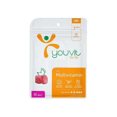 YOUVIT Multivitamin Dewasa merupakan multivitamin Dewasa berbentuk gummy (permen kenyal) kualitas premium dengan rasa mix berry pertama di Indonesia. Mengandung 10 vitamin yaitu vitamin A, B Kompleks, C, D, E dan 2 mineral (Selenium dan Iodium) yang penti