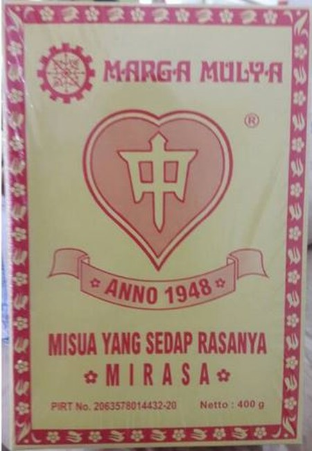 Misoa Mirasa yang sedap rasanya diproduksi oleh Marga Mulya yakni sebuah perusahaan mie dan misoa yang berdiri sejak tahun 1948. Misua sendiri merupakan sejenis mie tipis yang terbuat dari tepung sagu, yang jika dikonsumsi maka akan memberikan tekstur ber