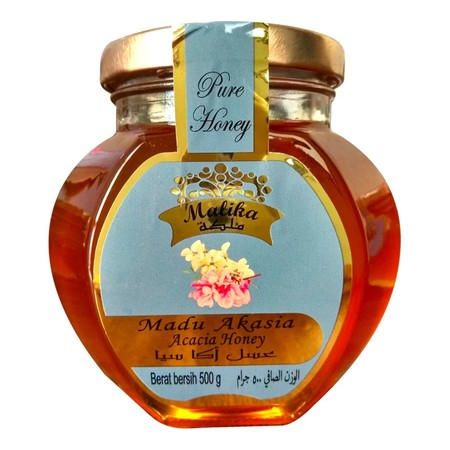 Deskripsi Produk : Madu Malika Akasia Merupakan Madu Yang Dihasilan Dari Peternakan Lebah Yang Menghisap Bunga Acacia Pilihan Di Benua Eropa. Diproses Dan Diolah Secara Alami, Menghasilan Madu Murni Yang Berkualitas Tinggi Dari Bunga Pilihan. Dengan Banya