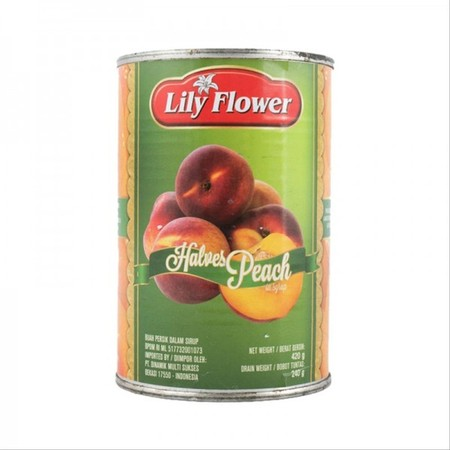 Lily Flower Halves Peach in Syrup merupakan makanan kaleng yang berisi buah potongan buah pir dalam sirup.
