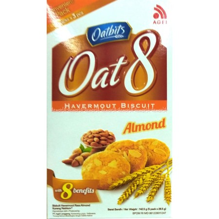 Biskuit Oat 8 varian Kacang Almond yang dibuat dengan perpaduan oat dan almond pilihan menambah lezatnya rasa biscuit sehat ini, serta terdapat 8 kandungan di dalamnya yang bermanfaat bagi tubuh. Tersedia dalam kemasan berbentuk Box