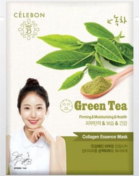 Celebon Green Tea Collagen Essence Mask Merupakan Masker Wajah Berupa Lembaran Seperti Tissue Yang Mengandung Vitamin E Dan Kolagen Yang Memberikan Nutrisi Untuk Kulit Serta Membuat Kulit Lebih Cerah. Masker Dengan Kandungan Ekstrak Green Tea Ini Memiliki