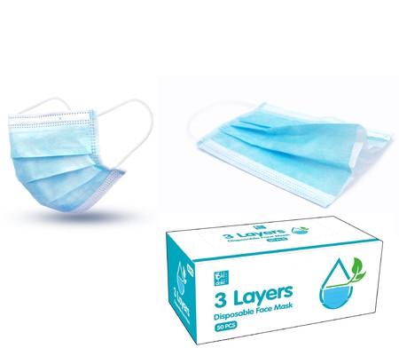 Lindungi diri dengan Disposable protective Mask, aktif menangkal radikal bebas di udara sampai dengan 95%  Material: non-woven,metalblown Colour: Blue  50 pcs/Box