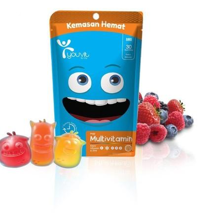 YOUVIT mengeluarkan satu varian baru untuk anak-anak. Produk ini tersedia dalam tiga pilihan rasa yaitu stroberi, jeruk dan nanas. Selain itu, bentuknya juga lucu berupa tiga monster menggemaskan berwarna pink, merah dan biru yang bernama Velma, Toni dan