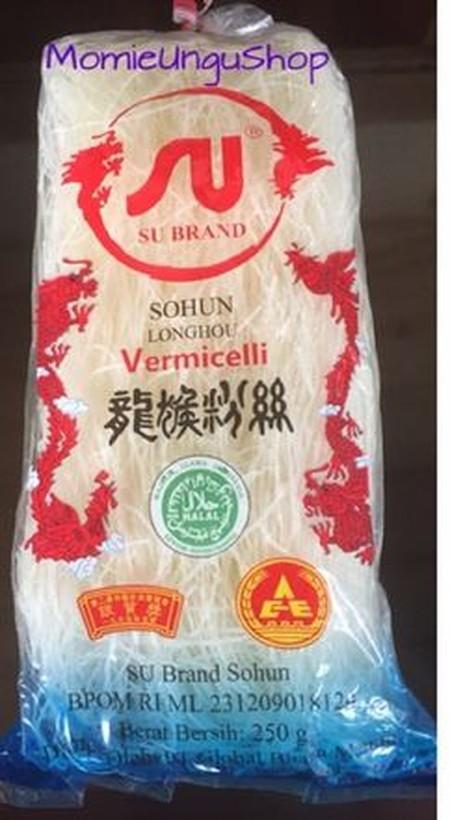 Sohun Longhou Vermicelli 250 gr. sohun dibuat dari bahan dasar pati sagu atau aren ditambah midro sebagai campuran. Makanan Indonesia yang memakai sohun : soto, bakso, tekwan, pempek, model, kimlo, dan sup