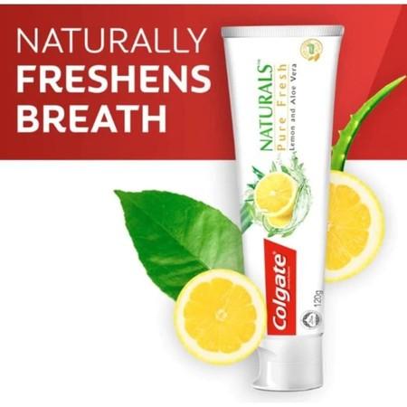 Colgate Naturals Pure Fresh 120Gr Merupakan Pasta Gigi Yang Dapat Memberikan Kesegaran Pada Mulut Dan Kesegaran Napas Lebih Lama. Mengandung Ekstrak Alami Lemon Dan Aloe Vera Yang Membuat Mulut Anda Bersih Dan Segar.    Cara Penggunaan: Sikatlah Gigi Seti