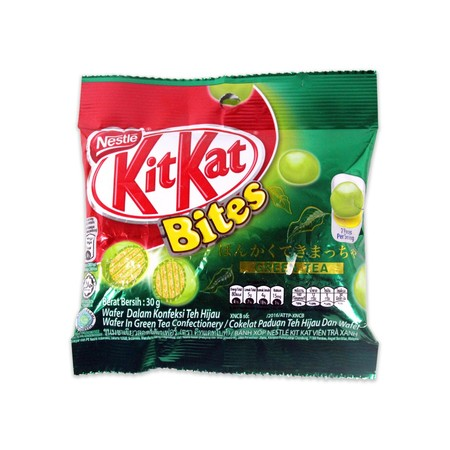 Kit Kat Bites, Now Available In Green Tea Flavour. Ingredients: Vegetable Fat & Oil (Palm Kernel, Palm, Illipe, Shea, Sal, Mango Kernel, Kolcum), Milk Solids (Cow'S Milk), Sugar, Wheat Flour, Maltodextrin, Green Tea Powder, Confectionery Glazing Agent (Sh