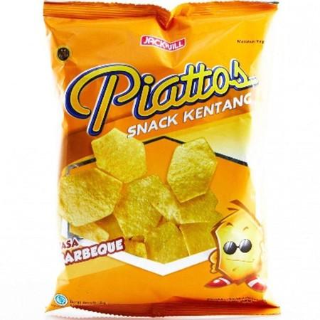J&J Piattos Barbeque Snack [85 g] adalah keripik kentang berbentuk segi enam yang unik dengan tekstur yang tebal. Piattos dihasilkan dari kentang pilihan dan bumbu lezat yang akan menjadi kesukaanmu. Rasa barbequenya yang lezat akan membuatmu seperti seda