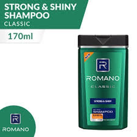 Diformulasikan Khusus Untuk Pria, Romano Classic Strong & Shiny Shampoo Menjaga Rambut Sehatmu Tetap Kuat Dan Berkilau Dengan Parfum Maskulin Khas Romano Classic. Formula Hair Vitamin-Nya Bantu Menutrisi Mulai Dari Pangkal Rambut. Kontrasnya Wangi Aromati