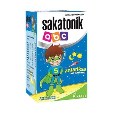 Sakatonik Abc Antariksa Multivitamin [30 Tablet] Merupakan Multivitamin Yang Dapat Membantu Menjaga Kesehatan Anak, Membantu Memenuhi Kebutuhan Multivitamin Untuk Anak-Anak Di Usia Pertumbuhan Dan Masa Penyembuhan Setelah Sakit.  Vit A 1000 Iu, Vit B1 1.4