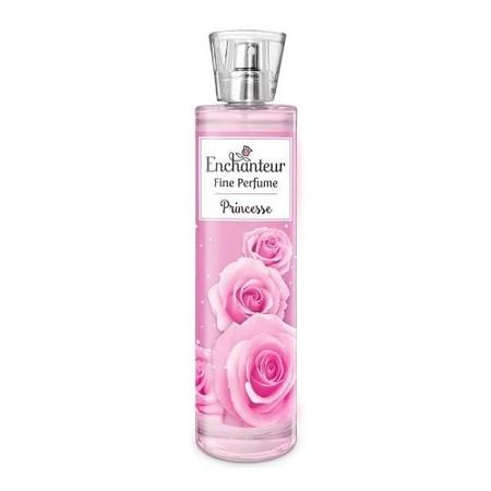 "Pesona keharuman Princess dengan ekstrak floral dan flowery yang segar dan tahan lama. Pancarkan pesona kecantikanmu dengan Enchanteur Fine Perfumed Princess."""