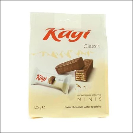 In The Classic Kagi Wafer, The Finest Raw Materials And Traditional Recipes Are Combined With Masterful Swiss Chocolate Expertise To Bring One Certainty Home After The First Blissful Bite: Happiness Is A Kagi. Ingredients: Sugar, Palm Fat, Wheat Flour, Wh