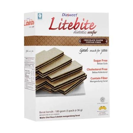 Konimex Diasweet Litebite Chocolate Wafer Isi 2 Paket, Camilan Sehat Untuk Diet, Bebas Gula, Bebas Kolesterol, Mengandung Serat Ringan Untuk Membantu Menjaga Saluran Pencernaan, Kemasan Praktis