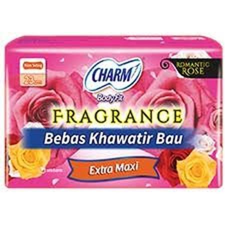 Charm Body Fit Fragrance Extra Maxi Wing 9Pads Merupakan Pembalut Bersayap Yang Dipakai Di Malam Hari Yang Memiliki Harum . Dengan Keharumanyang Menyenangkan Membuat Anda Tidak Khawatir Lagi Saat Haid Sedang Melanda. Charm Body Fit Fragrance Extra Maxi Wi