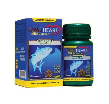 Om3Heart adalah produk suplemen makanan yg bermanfaat untuk membantu memelihara kesehatan jantung. Om3Heart berasal dari ikan laut yg diproses dengan teknologi tinggi dan menghasilkan Omega 3 yg berkonsentrasi tinggi Keunggulan produk ini adalah: 1. Kapsu