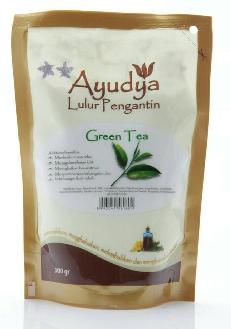 Ayudya Lulur Pengantin Green Tea Our Anti-Oxidant Infused Scrub Polishes Skin With Natural Exfoliating Salt Scrub While Moisturizing Olive And Herbal Oils Help Create Soft Supple And Glowing Skin. Fragrance With An Elegant Blend Of Green Tea Extract.  Sui