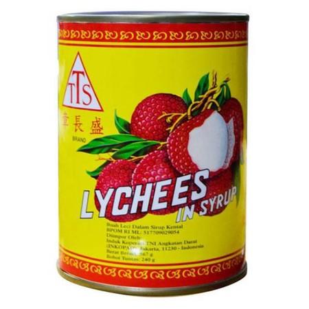 TTS Lychee in Syrup. Buah Leci dalam sirup. Buah lychees kaleng cocok untuk lychees ice tea, es buah dan kreasi minuman lainnya.
