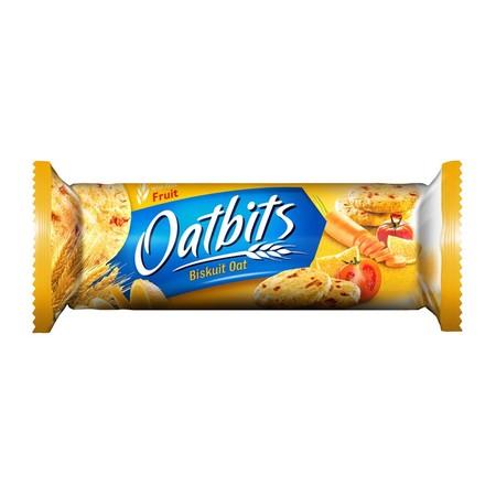 Biskuit Oat varian Vitafruit yang dibuat dari kombinasi potongan jeruk, wortel dan tomat asli. Tersedia dalam kemasan berbentuk Roll dengan isi 22 keping | Kemasan Roll 121 gram